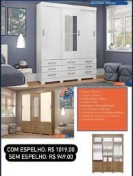 Título do anúncio: Roupeiro Tóquio Guarda-Roupa C/ Espelho opcional (com R$1019), 03 Portas, 09 Gavetas.
