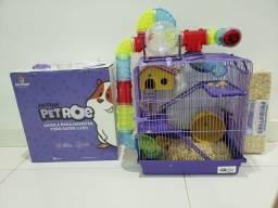 Título do anúncio: Casinha de hamster , com serragem , 2 ramstes , bebedouro , bolinha , comida,
