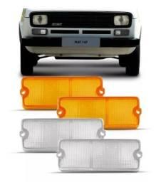 Par Lente Dianteira Cristal Ambar Fiat 147 1976 77 78 1979
