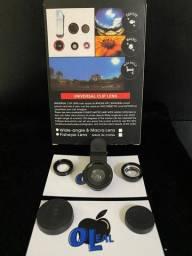 Kit Lente Olho De Peixe Universal 3x1 Para Celular Fisheye