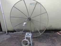 Antena Parabólica 1,80 x 1,80 receptor Century analógico mais 20 metrôs cabo coaxial
