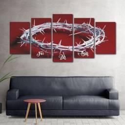 Quadro Decorativo Foi Por Amor, Coroa de Espinhos, Religioso, Fé