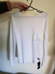 Blusa Branca Feminina Raglan com Decote Canoa