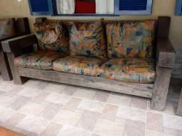 Jogo de sofá rústico maçaranduba maciça
