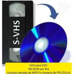 Título do anúncio: Conversão de fitas VHS pra DVD