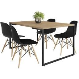 Mesa + 4 Cadeiras Estilo Industrial