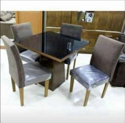 Mesa luna 90x90 com 4 cadeiras estofadas com tampo de vidro Pagamento na entrega peça já