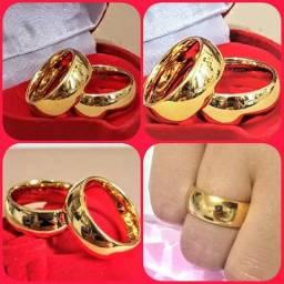 Par de alianças 8mm de casamento de Tungstênio folheado ouro