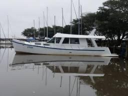 Barco trawler aço 14m Vaqueiro diesel mwm 229, muito economico, baixo calado