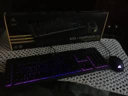 Teclado e Mouse Gamer Corsair RGB Harpoon e K55
