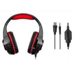 Fone Headset Gamer PH219 Warrior Rama P3+USB Stereo Adaptador P2 LED Vermelho