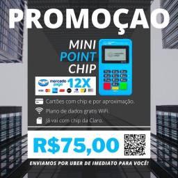 Maquininha de Cartão Mini Point Chip (CHIP DE DADOS E INTERNET GRÁTIS).