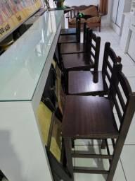 Título do anúncio: Bancada madeira laquê com vidro 5mm e bancos