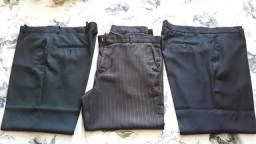3 Calças Sociais em bom estado tamanho 52 - preta - azul escuro e listrada