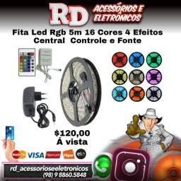 FITA DE LED RGB 5 METROS 4 EFEITOS 16 CORES CENTRAL CONTROLE E