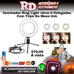 ILUMINANDOR RING LIGHT 16CM COM TRIPE DE MESA 3 EFEITOS