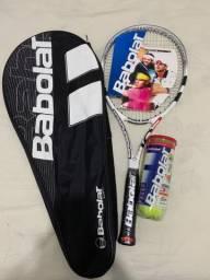 Raquete de tênis BABOLAT HELIX 102 + Jogo de 3 bolas