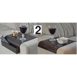 Kit 2 esteira para sofá porta copos e controle em mdf