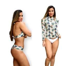 Conjunto Verão Teal Biquini + Blusa Proteção Uv50+ 2021