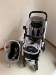 Carrinho Travel System Maly Cinza + Bebê Conforto + Base - Dzieco