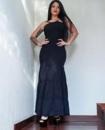 Vestido longo renda/malha