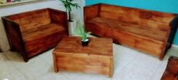 Título do anúncio: Jogo de sofá + mesa de centro rústico artesanal à venda.