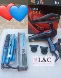 Kit secador de cabelo + prancha titaniun + baby liss + pente