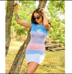 Vestido Tricot Modal-Tamanho Único- Listras Variadas-Veste do 36 ao 42