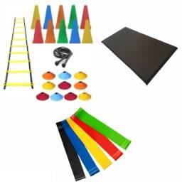 Título do anúncio: Kit Funcional: Escada + 10 Cones + 10 Pratos + Corda + Colchonete + 5 Minis Bands (c)