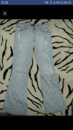 Calça flare 42 jeans claro