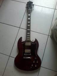 Guitarra SX modelo SG vermelha, 6 meses de uso