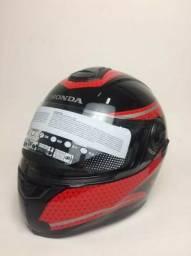 Capacete Honda Hf3 / Vintage Preto/vermelho