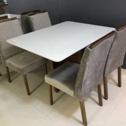 Mesa com 4 Cadeiras 1,20mx90cm Veludo Luxo Pronta Entrega