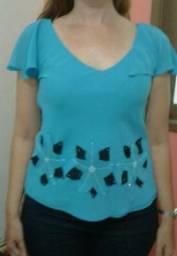 Blusa de crepe azul - Leve e bem conservada!