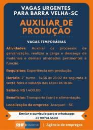 Auxiliar de produção - Barra Velha