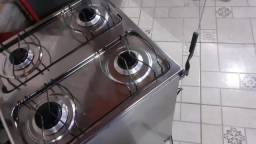 Fogão  Realce  4 bocas cromado com tampa de vidro