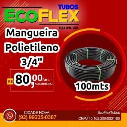 """Mangueira Preta Polietileno 3/4"""" R$80,00 Lisa tubo preto irrigação 100mts"""