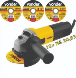 """Título do anúncio: Lixadeira Esmerilhadeira Angular 4.1/2"""" EAV 650 + 3 discos Vonder Promoção"""
