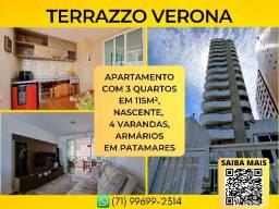 Título do anúncio: Terrazzo Verona, 3 quartos em 115m² com 2 vagas de garagem em Patamares - Imperdível