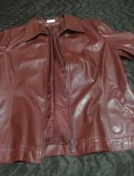 Jaqueta de couro vermelho