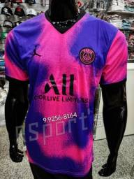 Uniforme PSG rosa Degradê novo conjunto