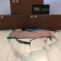 óculos oakley tincan blue metal armação de alumínio