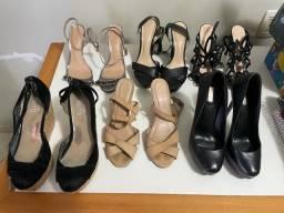 Seis pares de sandálias detalhes em couro tam 36
