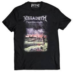 camiseta megadeth(youthanasia) camiseta banda metal silk screen
