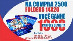 Compre 2500 panfletos, leve 1000 cartões de graça!