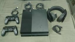 Playstation 4 + 2 Controles + Headset Sony Pulse 7.1 Sem Fio