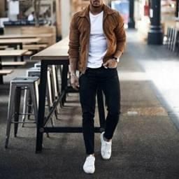 Jaqueta de camurça e couro