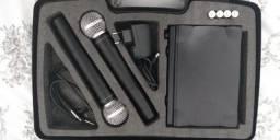 Kit microfone duplo UHF-302 da MXT profissional (seminovo)