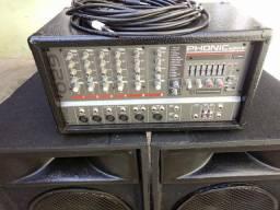 Som completo Mesa amplificada com efeitos e 2 caixas de som de 15 polegadas