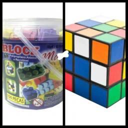 Lego 104 Peças + Cubo Magico Aprendizado  Crianças Montagem